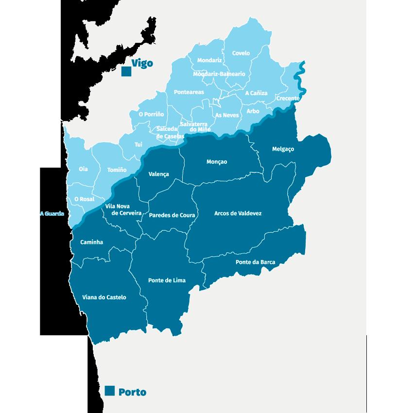 Mapa - Concellos implicados no SmartMinho