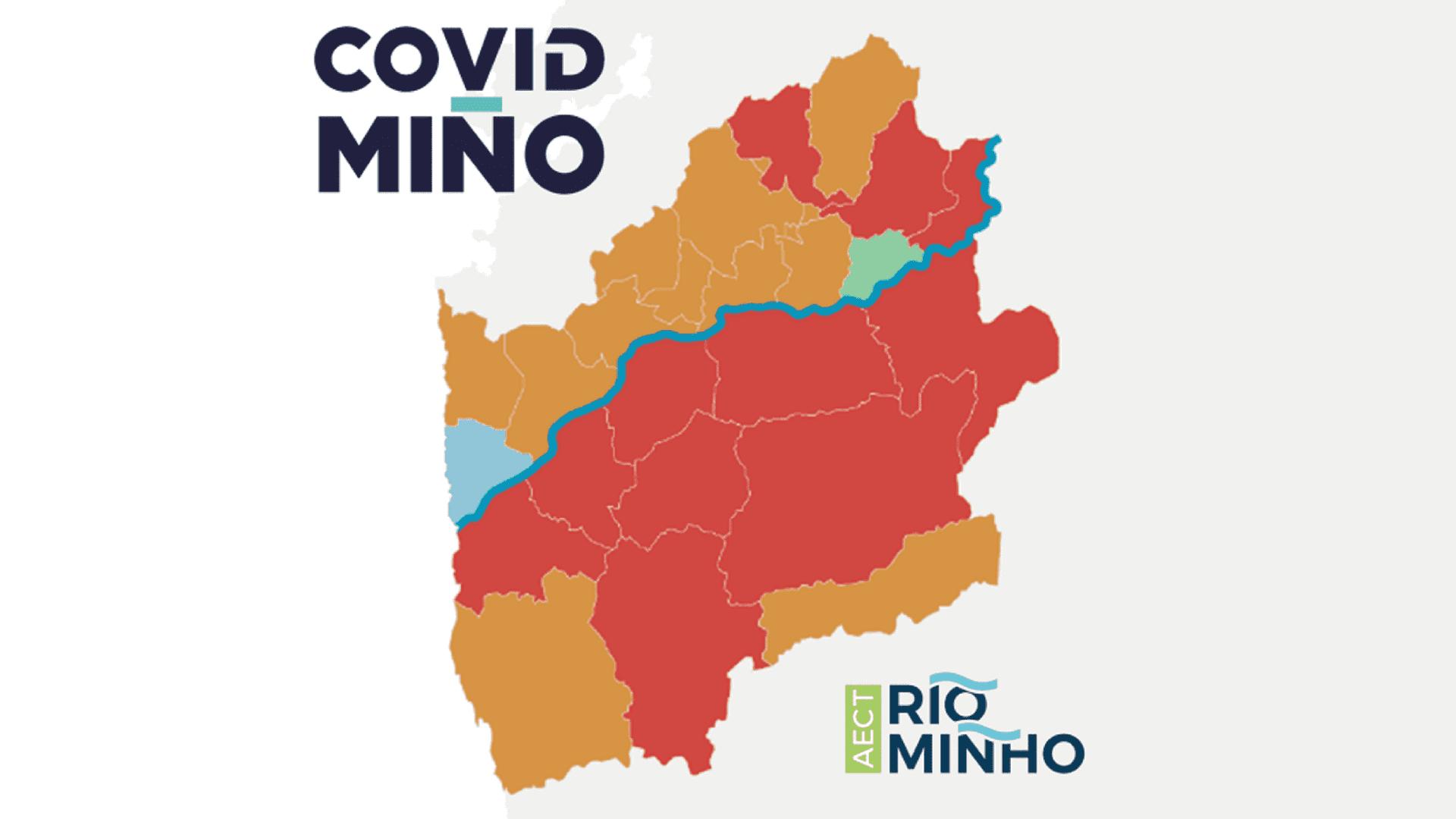 mapa COVIDMinho da evolução da covid-19 em municípios transfronteiriços